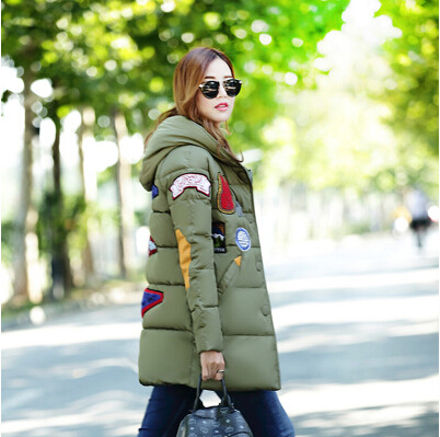 2017 Winter thickening women parkas womens wadded jacket outerwear fashion cotton-padded jacket medium-long coat army greenОдежда и ак�е��уары<br><br><br>Aliexpress