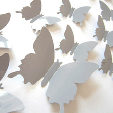 12 Pcs Colorful 3D Butterfly Wall Stickers Docors Art DIY Decorations Paper 2017(China)