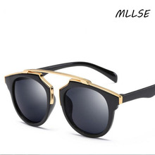 2017 New  high quality Fashion Retro sunglasses for women reflective color film glasses women sunglasses
