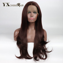 Natural Body Wave Hair Heat Resistant Japanese Fiber Long Synthetic Hair Lace Front Wigs for Black Women Middle Part Party Wigs(China)