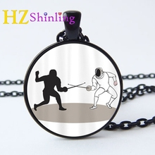 2017 New I Love Fencing Necklace Round Photo Pendant Sports Jewelry Glass Cabochon Necklaces Gifts For Fans