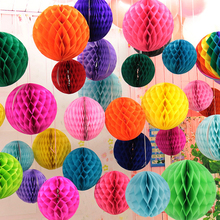 10pcs 10 Inch 25cm Tissue Paper Honeycomb Balls Hanging Pompom Party Wedding Birthday Decoration Yellow White Pink Purple Orange(China)