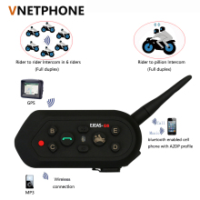 2017 Hot selling E6 Bluetooth 3.0 Motorcycle bluetooth Interphone 6 Riders Full Duplex 1200M Communication Helmet Interphone(China)