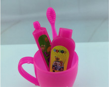4 Pcs/ Set Rose Fuchsia Toothpaste Tube Toothbrush Bathroom Accessories for Barbie Girls Gifts Wholesale and Retail(China)