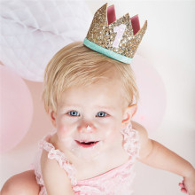 Sparkly Fashion Mini Felt Glitter Crown with Different Number Headband For Birthday Party DIY Crafts Hair Decorative Accessories