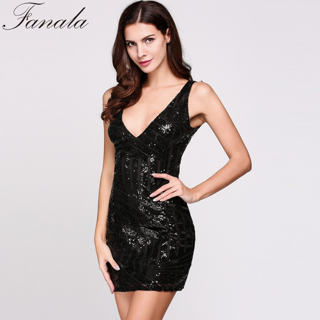 FANALA Women Fashion Plunge Collar Dress Sleeveless Sequins Sexy Deep-V Neck Pencil Club Party Dress Backless Short Sexy Dress(China)