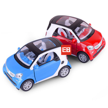 Simulation 1:24 scale dicast car benz smart metal model pull back alloy toys with light and sound hot wheel for kids collection