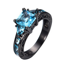 Size 5-11 Classical Jewelry Princess Cut Light Blue Wedding Ring 10KT Black Gold Filled CZ Women Vintage Engagement Rings RB0071(China)
