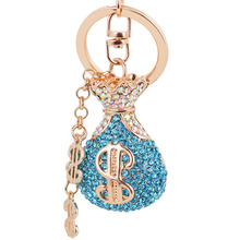 lucky wallet bag key chain metal dollar rhinestone money purse key ring car hanger pendant best gift for man women handbag charm