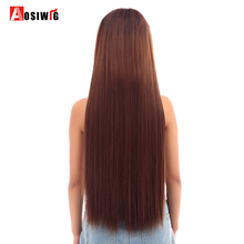 Buy AOSIWIG Long Straight Hair Extensions 5 Clips Fake High Temperature Fiber Synthetic Fake Hairpiece Women for $2.84 in AliExpress store