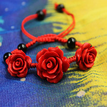 Vintage Ethnic Costume Fine Jewellery Carved Lacquerware Rose Charm Handmade Red Thread string Women Bracelet Braided Lucky