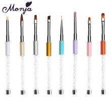 8 Ways Rhinestone Handle Nail Brush Pen for Acrylic Crystal Gel Polish Tips Builder Coating Line Flower Paint Draw 3D Art Design