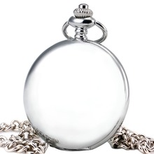 TD Unisex Men Women Vintage Concise Luxury Silver Pocket Watches Thin Smooth Fob Watches With Pendant Chain Gifts + BOX