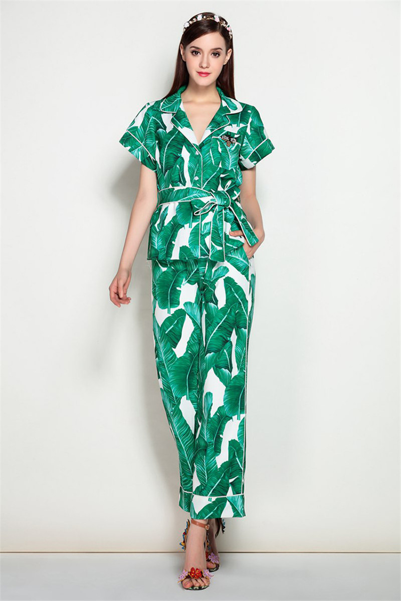 Brand Fashion Two Piece Set Women Runway Suit Fashion Green Leaf Print Dragonfly Beading Shirt + Elastic Waist Pants Sets 9