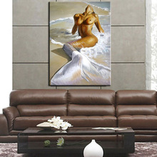 hand painted Mermaid oil painting nude woman canvas wall art high quality naked figure picture for wall decoration