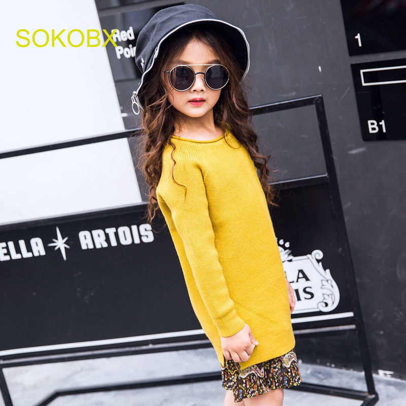 SOKOBX Girls Dress2018 Spring Knitted Sweater O Neck Girl Patchwork Dress Knittedwear Vestidos<br>
