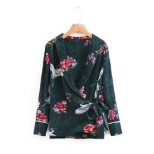 2017 Fall Europe and the United States Women lace with cranes and flowers printed blouse long-sleeved shirt female blusas 903(China)
