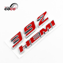3D Chrome Metal Sticker Decal Emblem Red 392 + Red HEMI Fender LOGO Car styling Nameplate For Chrysler Dodge Challenger Jeep(China)