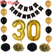 Happy Birthday Paper Black Banner Garland Paper Flower Number 30 Gold Latex Balloons Photo Background Party Home Birthday Decor(China)