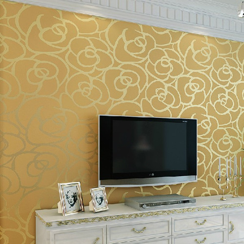 3D Gold Rose Mural Wallpaper Roll Background Wedding Decoration for home walls<br>