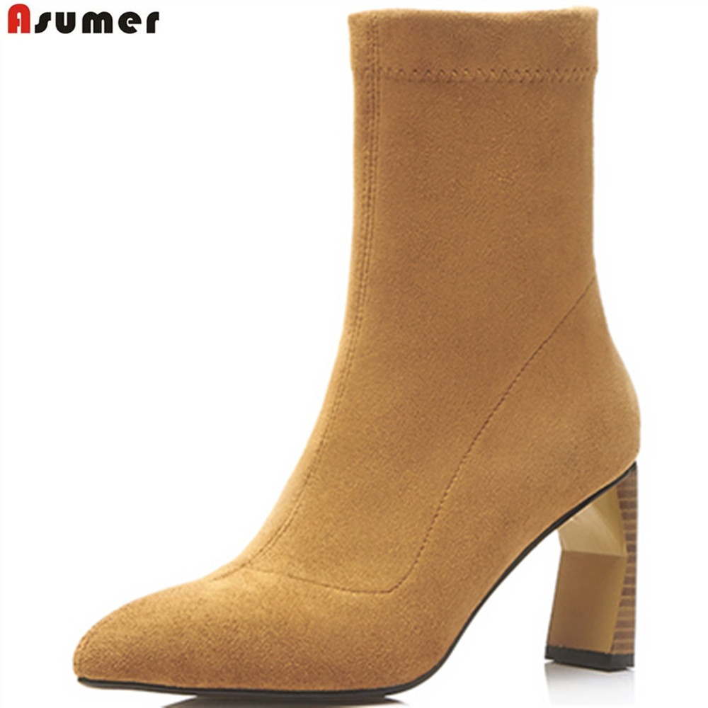 ASUMER black fashion spring autumn women shoes pointed toe zipper ladies boots flock high heels ankle boots big size 34-43<br>