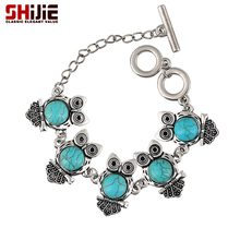 SHIJIE Boho Turquoises Owl Mens Bracelet Vintage Lovely Silver color Charm Bracelets for Women Bijoux Femme Fashion Jewelry Gift