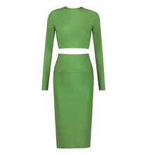 Style Number TP415 green long sleeve bodycon two piece dress