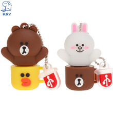 KRY cartoon plastic cup bear flash drive high speed usb3.0 4GB 8GB 16GB 32GB 64GB pen drive usb2.0 disk pendrive company gifts(China)