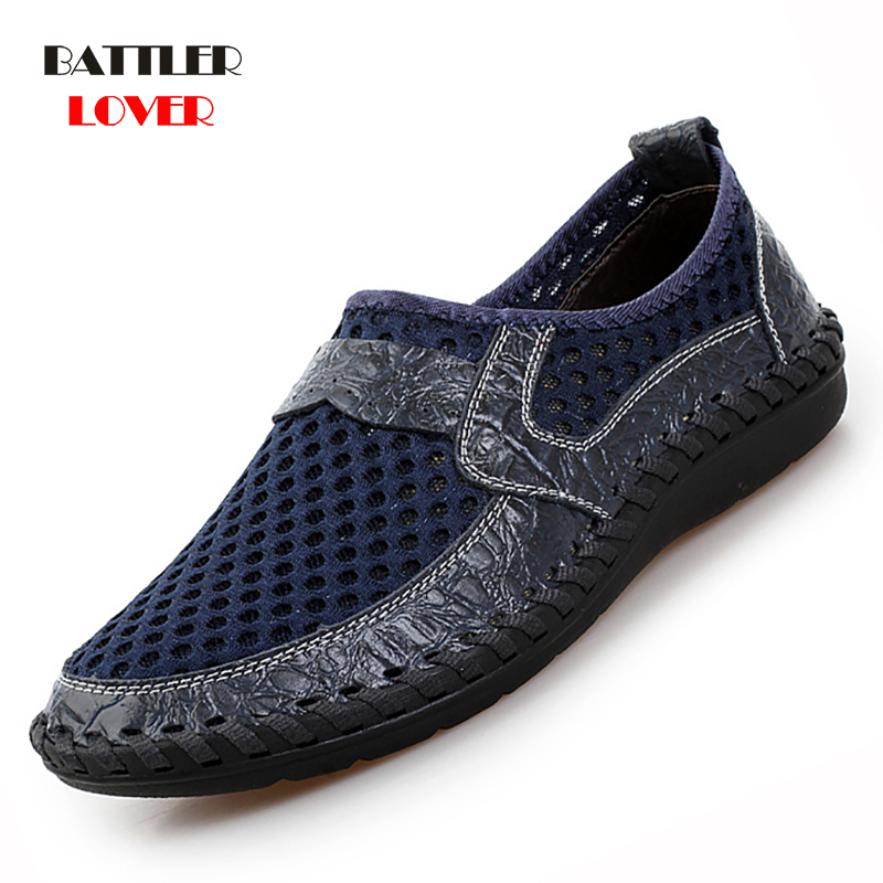 2019 Summer Breathable Mesh Mens Casual Shoes Slip On Brand Fashion Shoes Man Soft Comfortable Zapatillas Hombre Plus Size 38-50