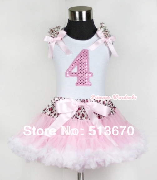 White Tank Top 4th Light Pink Birthday Number &amp; Light Pink Leopard Ruffles Bow Leopard Waist Light Pink White Pettiskirt MAMG436<br>