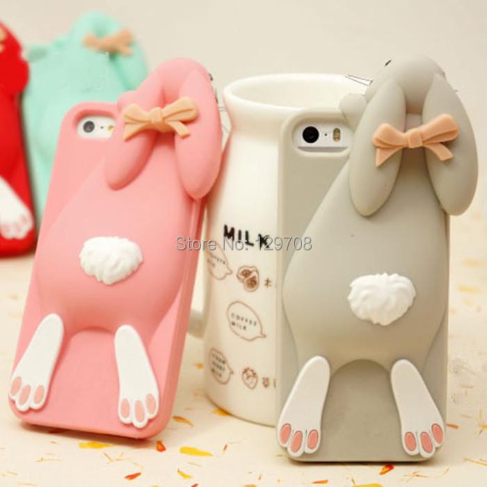 Cartoon 3D Soft Cute Silicone Rabbit Case For iPhone 5 5S SE 5SE 4 4S 6 6s 7 4.7 Plus 5.5 Lovely Rabito Phone Back Cover()