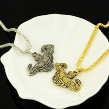 Kefeng HIP Gold antique silver Color Titanium Stainless Steel Muscle Sports Gym Fitness Pendant Necklaces For Men Jewelry