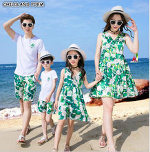Family Matching Clothes Summer Mother Daughter Dresses Family Look Father Son Outfits Chiffon Beach Mom And Daughter Clothes(China)