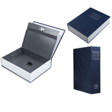 Dictionary Style Safe Box Blue Security Cash Money Safe Storage Box Case Size S Jewelry Locker Box Cash Secure Boxes