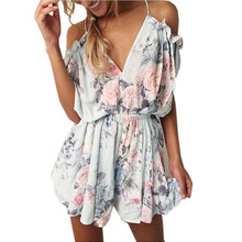 Sexy Women Summer Style Rompers Floral Printed Jumpsuit Short Overalls Female Straps Floral V-neck Bodysuit 2017 New Arrival