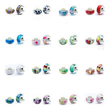 50pcs classic logo DIY Jewelry accessories thread core glass beads big hole Murano Charms Bead Fits Bracelets /necklace H106