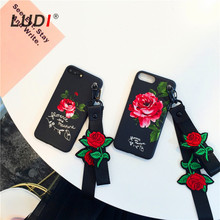 LUDI Korean 3D Red Rose Wrist & Neck Strap Case for iPhone X 8 7 7plus Soft Pro-TPU Hipster Cover for iPhone 6 6Plus 6s 6sPlus(China)