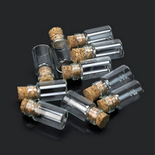 10pcs Lovely Small Wish Bottle Tiny Clear Empty Wishing Glass Message Vial With Cork Stopper 1ml Mini Containers Bottle MS193