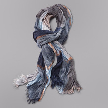 Wholesale Brand Winter Scarf Men Warm Soft Tassel Bufandas Cachecol Gray Plaid Woven Wrinkled Cotton Men Scarves(China)