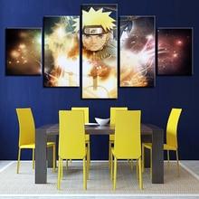 Home Decor Canvas HD Prints Pictures Wall Art 5 Pieces Naruto Sasuke Paintings Cartoon Anime Posters Living Room Framework