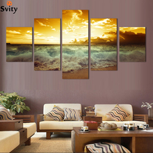 5 Panel Modern Printed Sea Wave Landscape Painting Picture Cuadros Canvas Art Seascape Painting For Living Room No Frame(China)