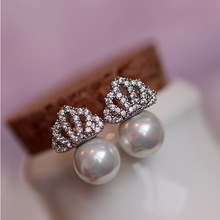 New 2014 South Korea full of crystal crown pearl earrings cute zircon crown seashell pearl stud earrings fashion women jewellery