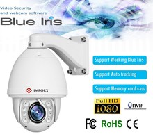 POE Blue Iris High Speed Dome CCTV Camera 2016 20X Optical Zoom IR 150M  Full HD1080P Auto Tracking PTZ IP Camera with wiper