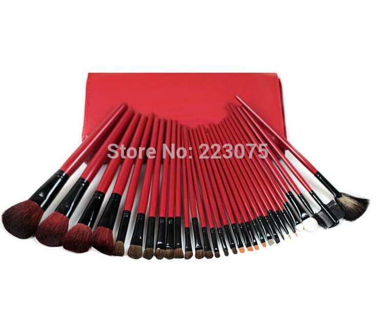 Pro Makeup 30pcs animal hair Brushes Set Powder Foundation Eyeshadow with Case as Xmas gift <br>