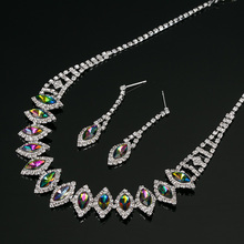 2016 New silvery Plated Multicolor Austrian Crystal Chain Necklace + Earrings Jewelry Sets Free shipping Women Jewellery N192(China)