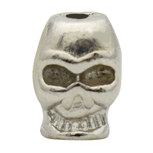 100pcs/lot Silver Skull Bead For Braid Hand mand Woven leather Necklace Accessories(China)