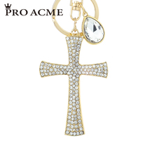 Pro Acme Crystal Christianity Lucky Cross Keyrings Women Keychains Purse Bag Pendant Car Key Chains Holder Rings PWK0793(China)