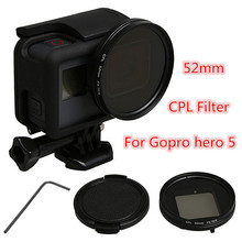52mm Black CPL Circular Polarizer Filter + Lens Cap + Adapter Ring For GoPro Hero 5 Glass+ABS+PC Durable