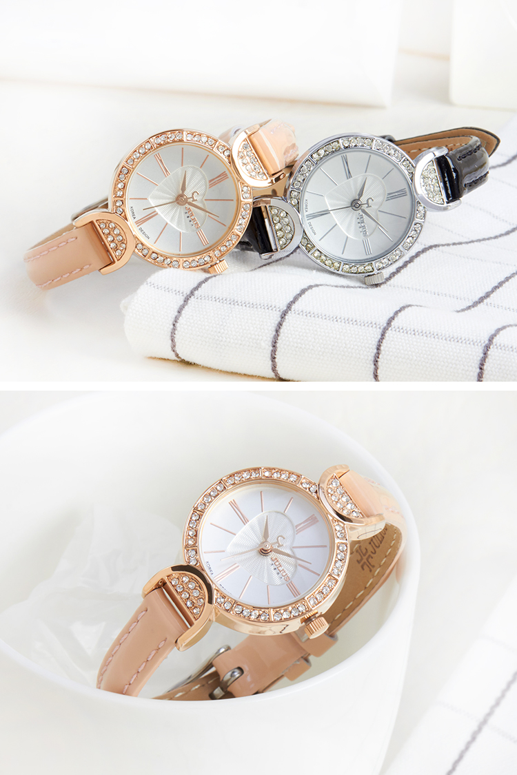 Lady Womens Watch Japan Quartz Fashion Fine Hours Clock Leather Austin Sandal Mitzi Silver Perak 37 Bracelet Cute Mini Heart Rhinestones Girls Gift Julius Box 779 Us146