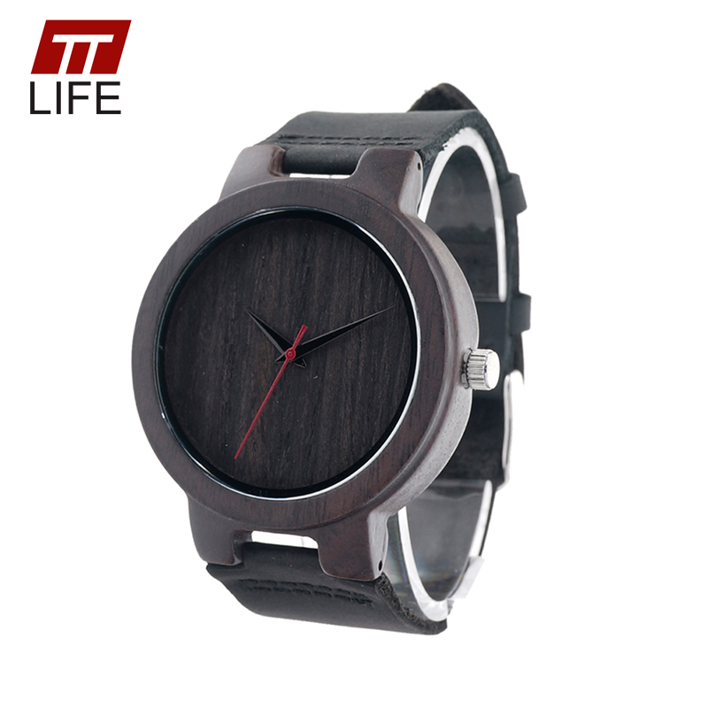 TTLIFE WD272 Mens Minimalism Wooden Watch Leather Band Black Wooden Dial with Red Second Hand Quartz Watch in Gift Box 2017<br><br>Aliexpress